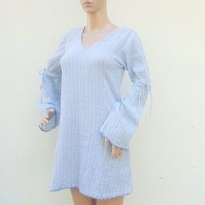 Michael Stars V-Neck Long Sleeve Gauze Shift Dress